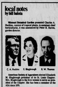 A clipping of the St. Louis Post from August 16, 1977, announcing Elizabeth Blagbrough as ASA's first woman president of the St. Louis chapter.