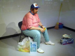 """Vendor with Walkman"" by Duane Hanson"