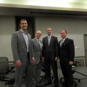 ASA Chicago Chapter members before their panel discussion at ICAP: Dan Daitchman, ASA; Barton DeLacy, ASA, Brian McCabe, ASA and David Koller, ASA