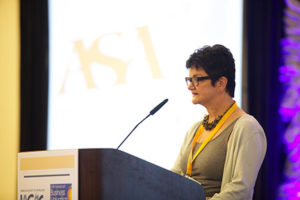 Susan Golashovsky, ASA International President & Conference Chair, welcoming attendees to IAC & BV