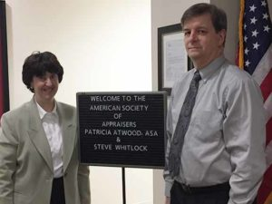 Left: Personal Property Appraiser, Patricia Atwood, ASA. Right: Director of Office of Public Responsibility, Internal Revenue Service, Steve Whitlock.